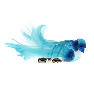 Petit oiseau bleu turquoise sur clip (x4) REF/3887