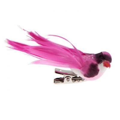 Petit oiseau fuchsia sur clip (x4) REF/3887