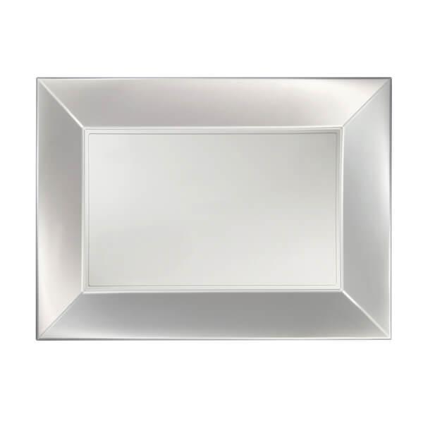 Petite assiette rectangulaire plastique incassable blanc perle
