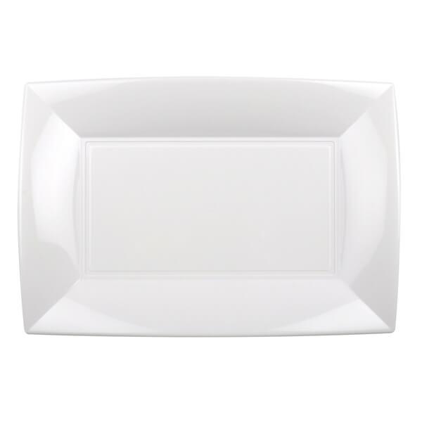 Petite assiette rectangulaire plastique incassable blanche