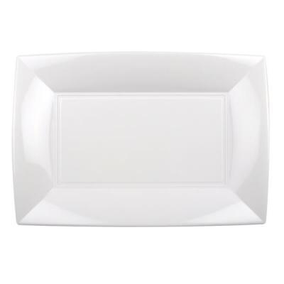 Petite assiette rectangle incassable blanche (x8) REF/58051