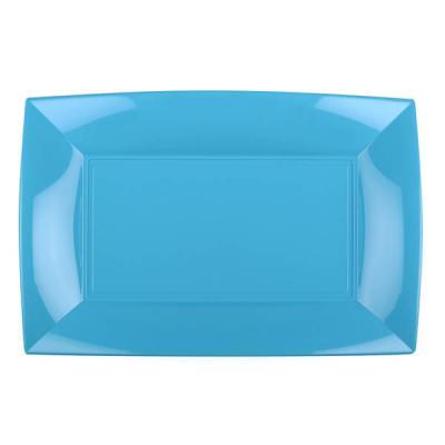 Petite assiette rectangle incassable bleu turquoise (x8) REF/58051