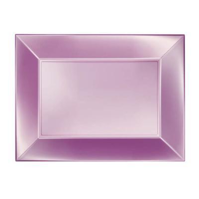 Petite assiette rectangle incassable rose perlé (x8) REF/58051