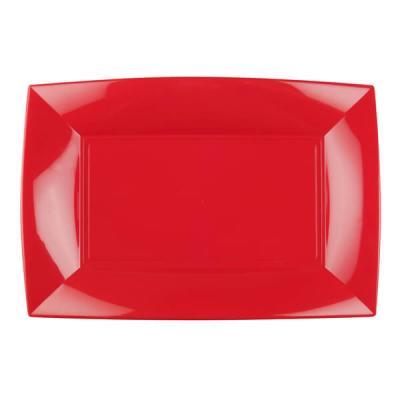 Petite assiette rectangle incassable rouge (x8) REF/58051