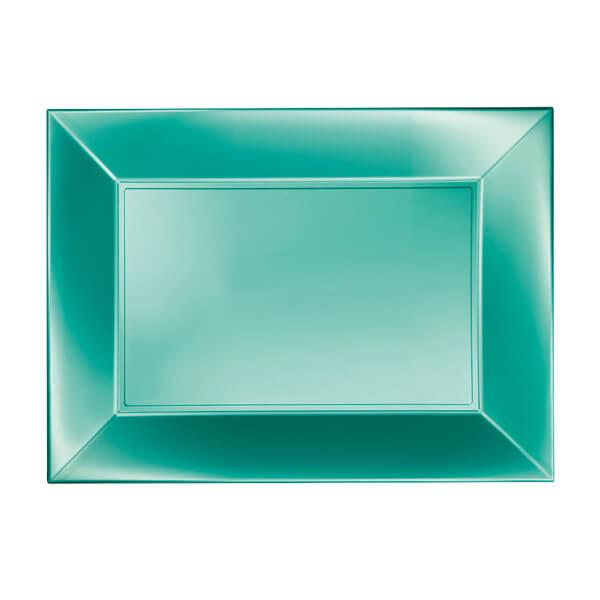 Petite assiette rectangulaire plastique incassable tiffany perle