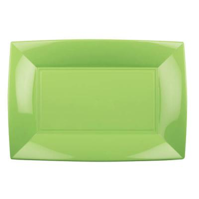 Petite assiette rectangle incassable vert anis (x8) REF/58051