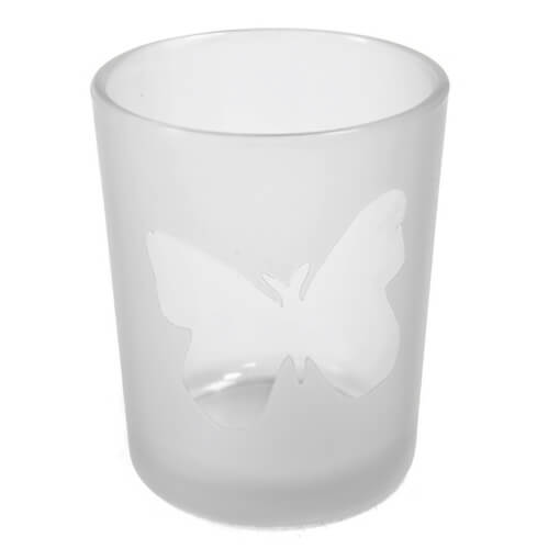 Photophore blanc transparent en verre papillon