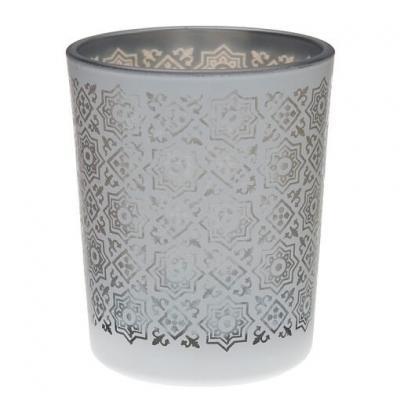 Photophore carreau de ciment argent (x1) REF/5496