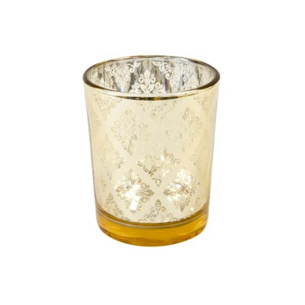 Photophore en verre mandala or