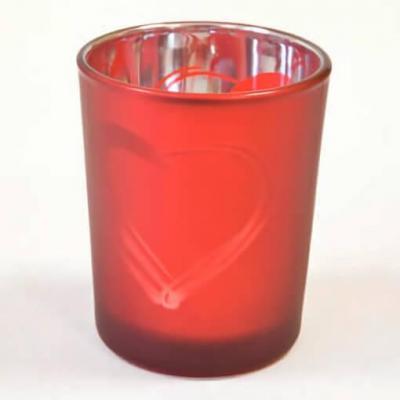 Photophore mariage coeur rouge en verre (x1) REF/VER5000