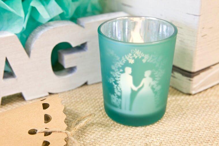 Photophore mariage couple de maries jade