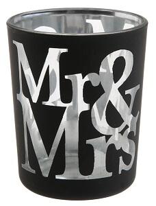 Photophore mariage mr et mrs noir