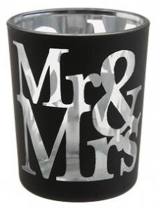 Photophore mariage Mr et Mrs: Noir (x1) REF/5430