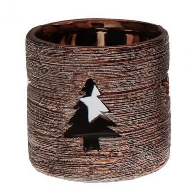 Photophore métallisé sapin cuivre (x1) REF/5498
