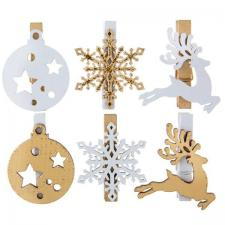 Pince de Noël décorative blanche et dorée métallisée (x6) REF/6480