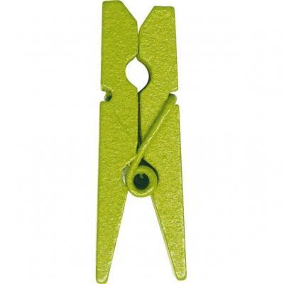 Pince en bois verte, 3.5cm (x12) REF/2644