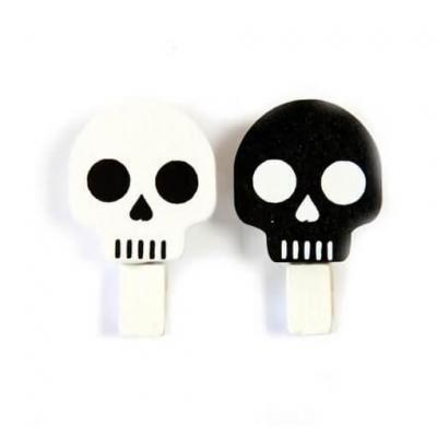 Pince Halloween crâne gothique noire et blanche (x6) REF/DEC661