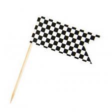 Pique drapeau damier en bois noir et blanc (x10) REF/DEK0109