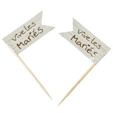 Pique drapeau mariage: Vive les mariés (x10) REF/DEC845