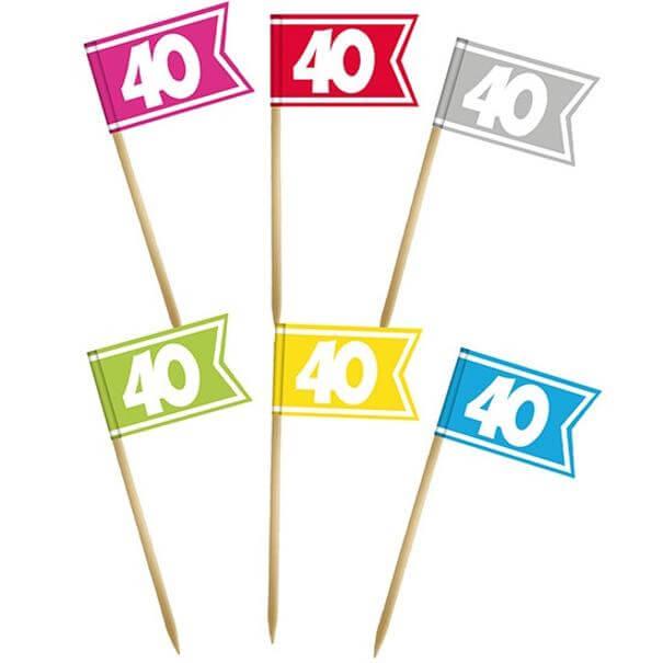 Pique drapeau multicolore anniversaire 40 ans