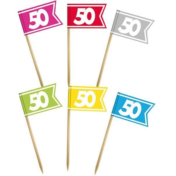 Pique drapeau multicolore anniversaire 50 ans