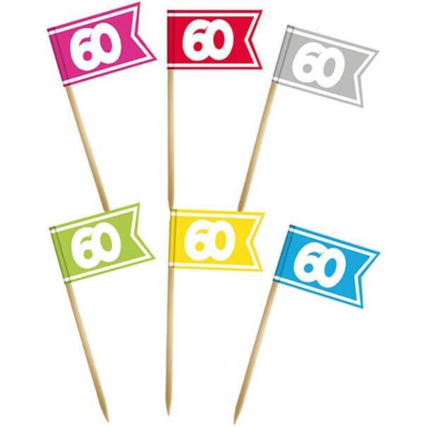 Pique drapeau multicolore anniversaire 60 ans