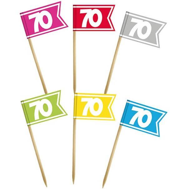 Pique drapeau multicolore anniversaire 70 ans