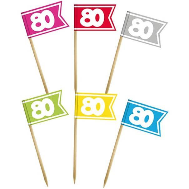 Pique drapeau multicolore anniversaire 80 ans