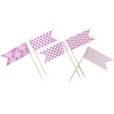 Pique drapeau fantaisie rose (x10) REF/DEC916