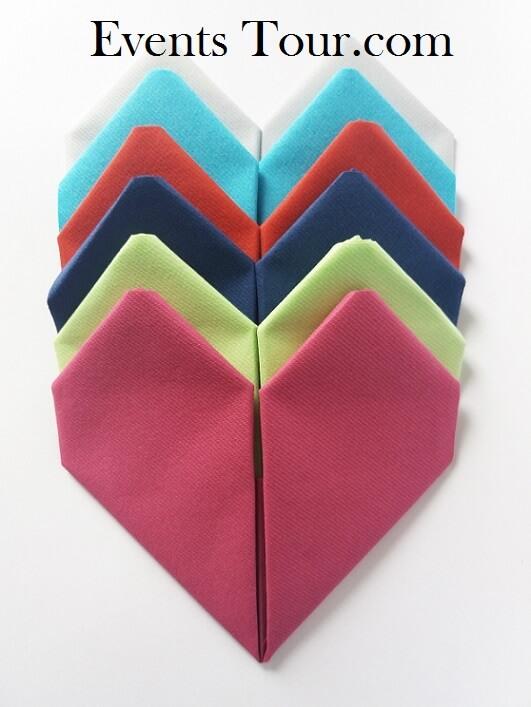 Pliage de serviette coeur 5