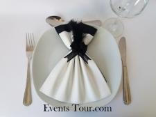 Pliage de serviette Airlaid glamour blanc et noir (x1) REF/10060