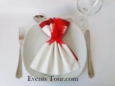 Pliage de serviette glamour blanc et rouge (x1) REF/10060