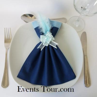 Pliage de serviette Airlaid glamour bleu marine et bleu ciel (x1) REF/10060