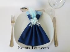 Pliage de serviette glamour bleu marine et bleu ciel (x1) REF/10060