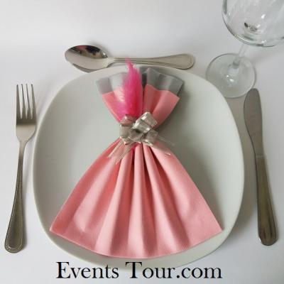 Pliage de serviette Airlaid glamour rose et gris (x1) REF/10060