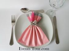 Pliage de serviette glamour rose et gris (x1) REF/10060