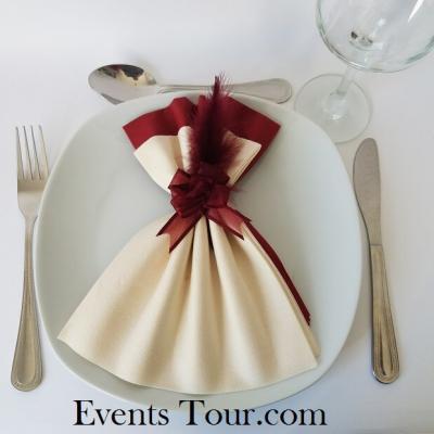 Pliage de serviette Airlaid glamour ivoire et bordeaux (x1) REF/10060