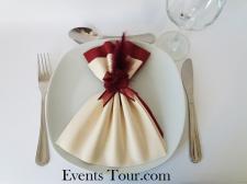 Pliage de serviette glamour ivoire et bordeaux (x1) REF/10060