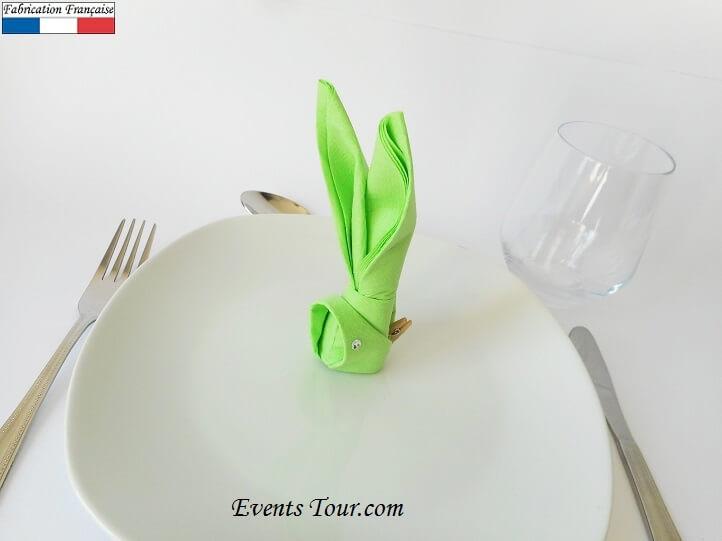 Pliage de serviette lapin vert pomme