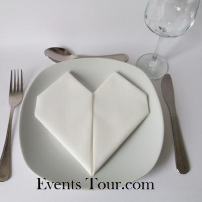 Pliage de serviette mariage coeur blanc (x1) REF/10040