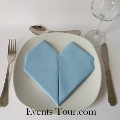 Pliage de serviette mariage coeur bleu ciel (x1) REF/10040