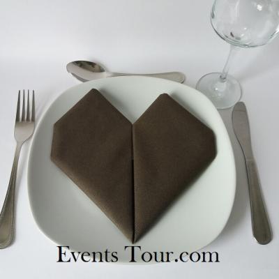 Pliage de serviette mariage coeur chocolat (x1) REF/10040