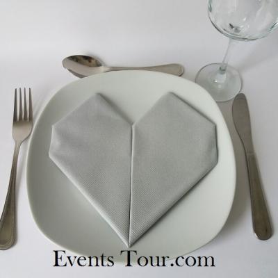 Pliage de serviette mariage coeur gris (x1) REF/10040