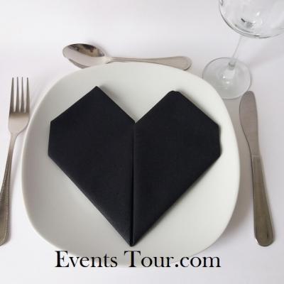 Pliage de serviette mariage coeur noir (x1) REF/10040