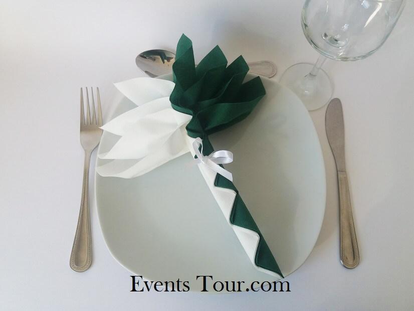 Pliage de serviette palmier blanc et vert sapin
