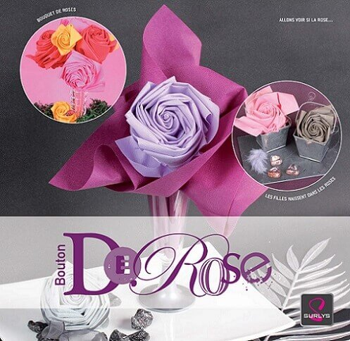 Pliage de serviette rose 3