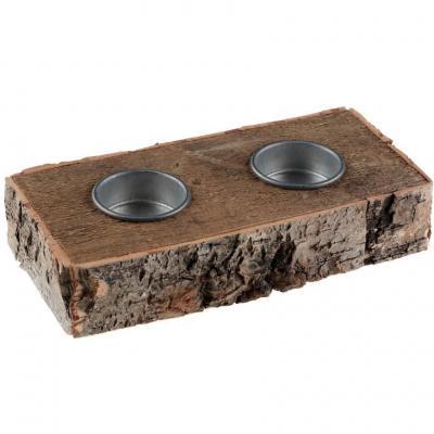 Porte-bougie de Noël en écorce de bois pour décoration de table (x1) REF/7440