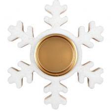 Porte bougie flocon de Noël blanc et or en bois et métal (x1) REF/7103