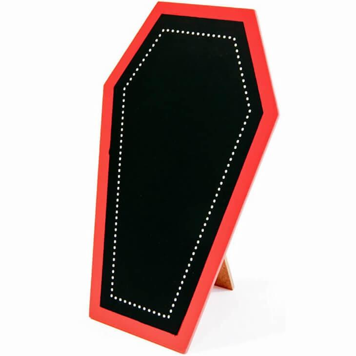 Porte menu halloween cercueil rouge et noir