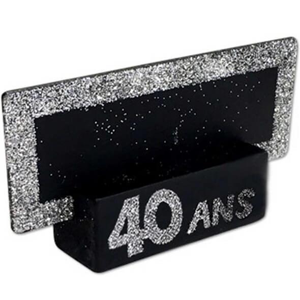 Porte nom ardoise argent paillete et noir anniversaire 40 ans